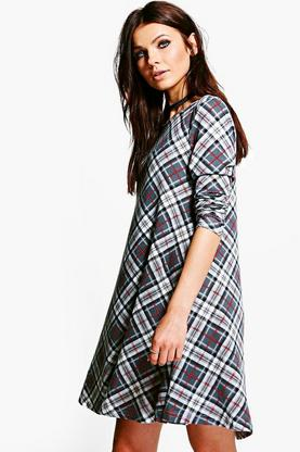 Polly Check Brushed Knit Swing Dress