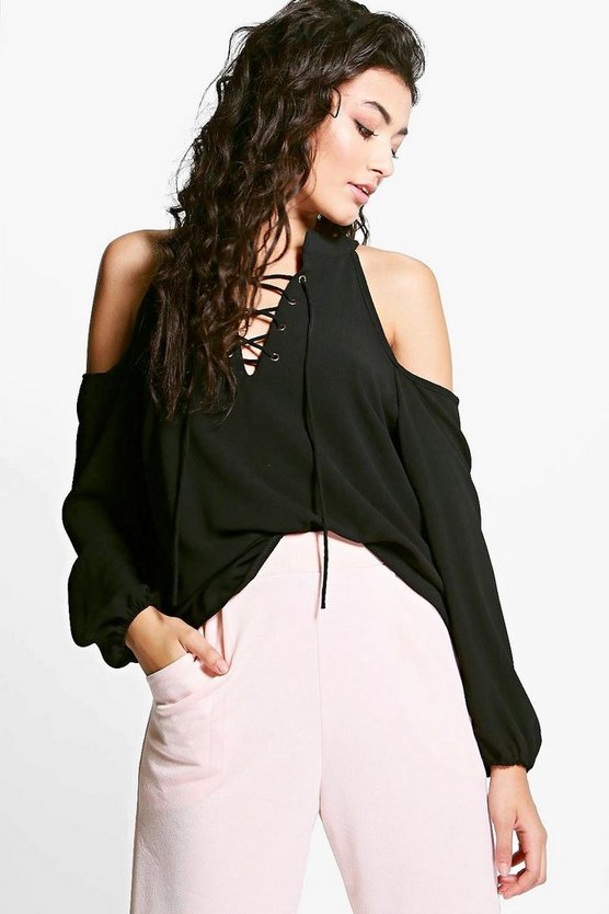 Molly Lace Up Cold Shoulder Shirt