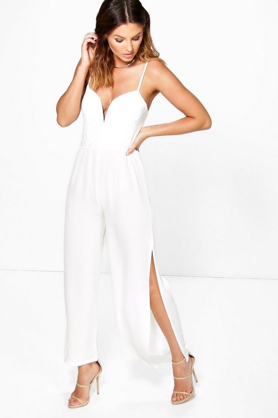 Erin Split Leg Lace Detail Jumpsuit