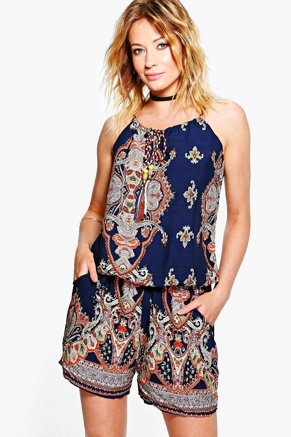 Amy Paisley Tie Neck Playsuit
