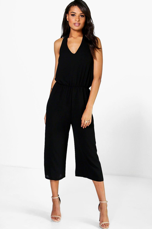 Halter Neck Culotte Jumpsuit  black