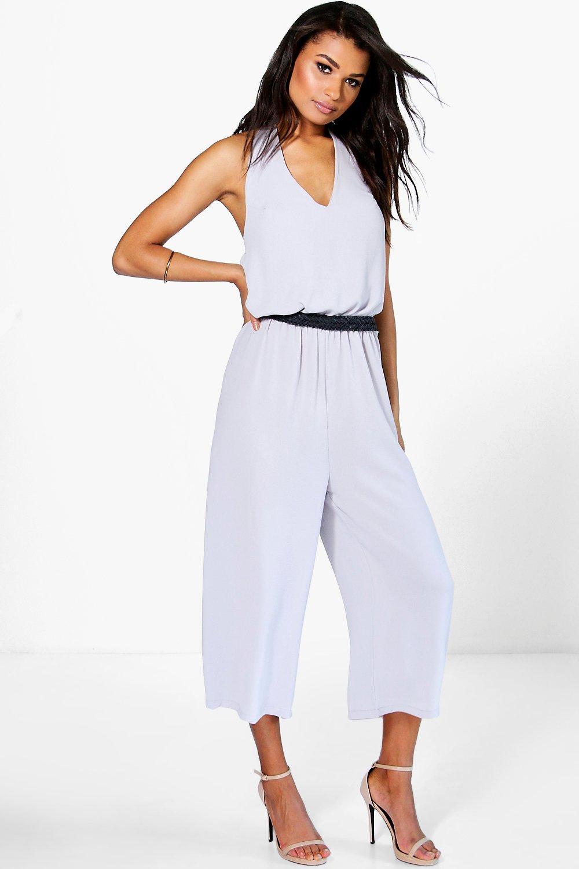 Halter Neck Culotte Jumpsuit  grey