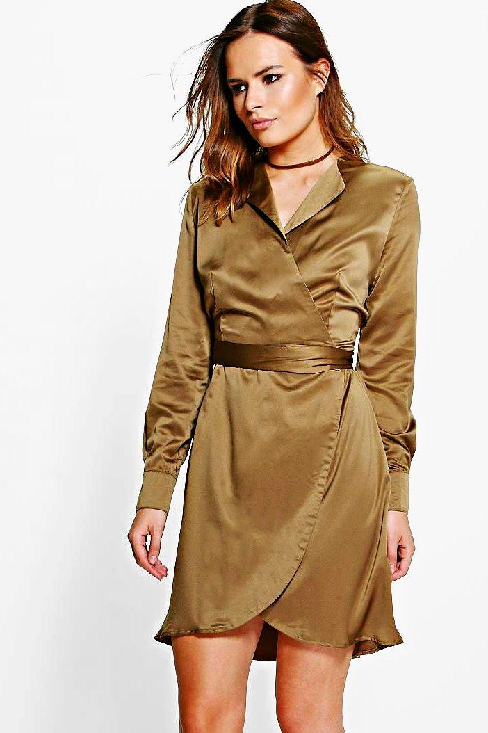 Satin Wrap Shirt Dress  khaki