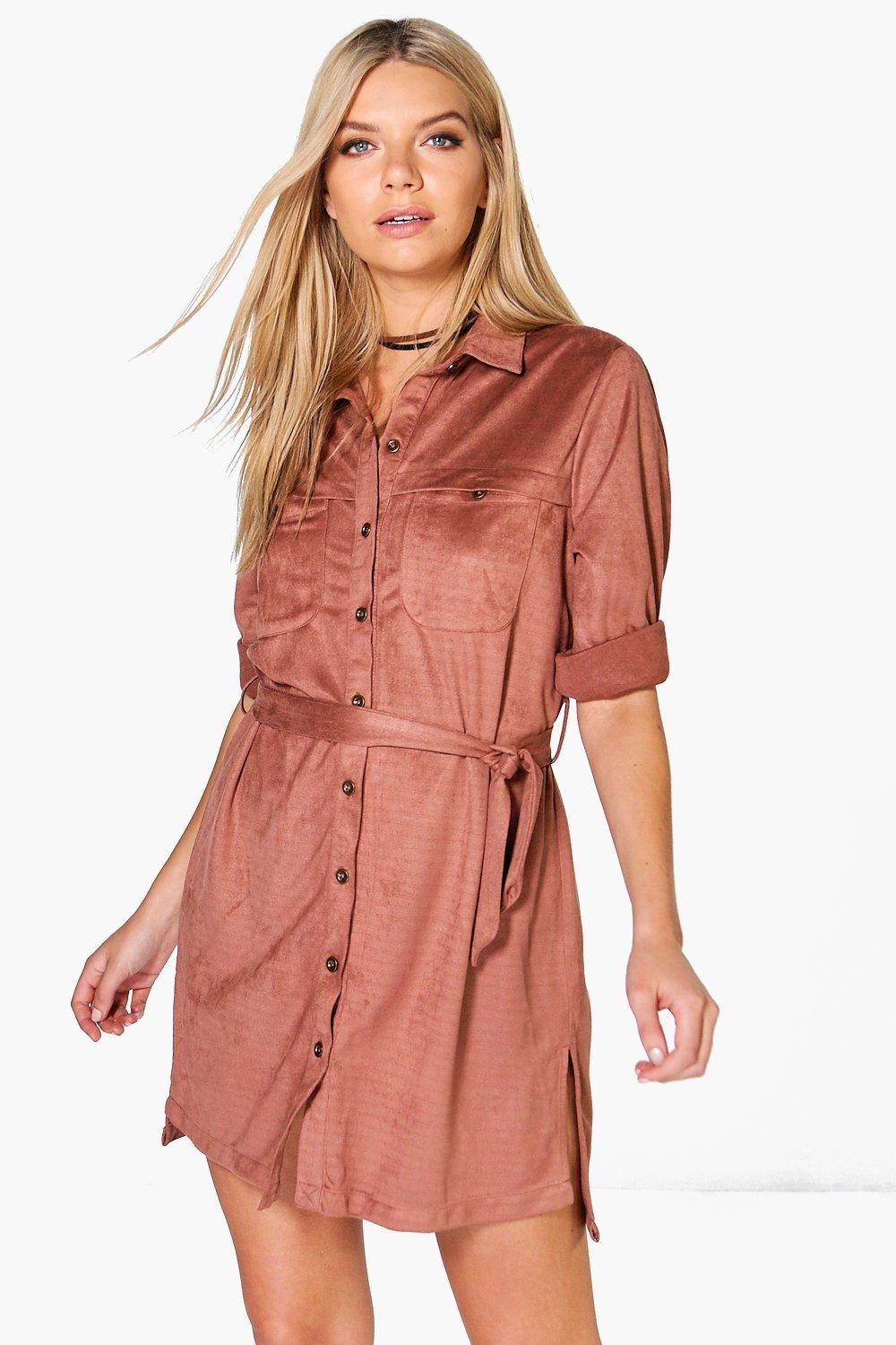 Utility Belted Pocket Shirt Dress  antique rose
