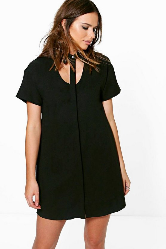 Amy Cut Out Neck Shirt Dress