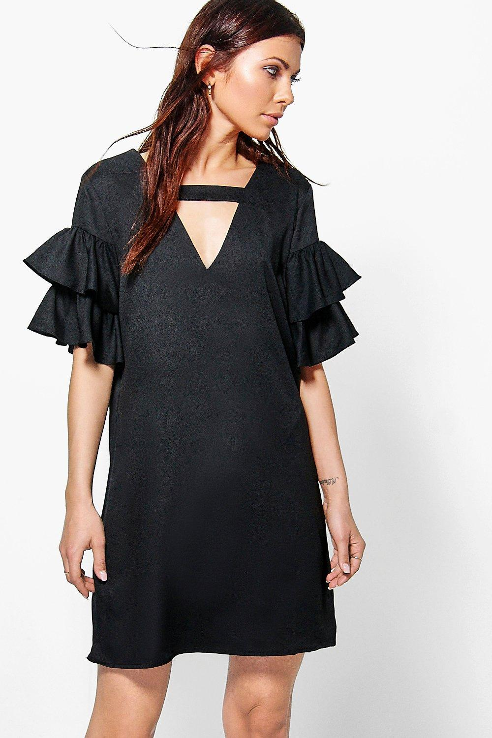 Georgia Tiered Plunge Shift Dress