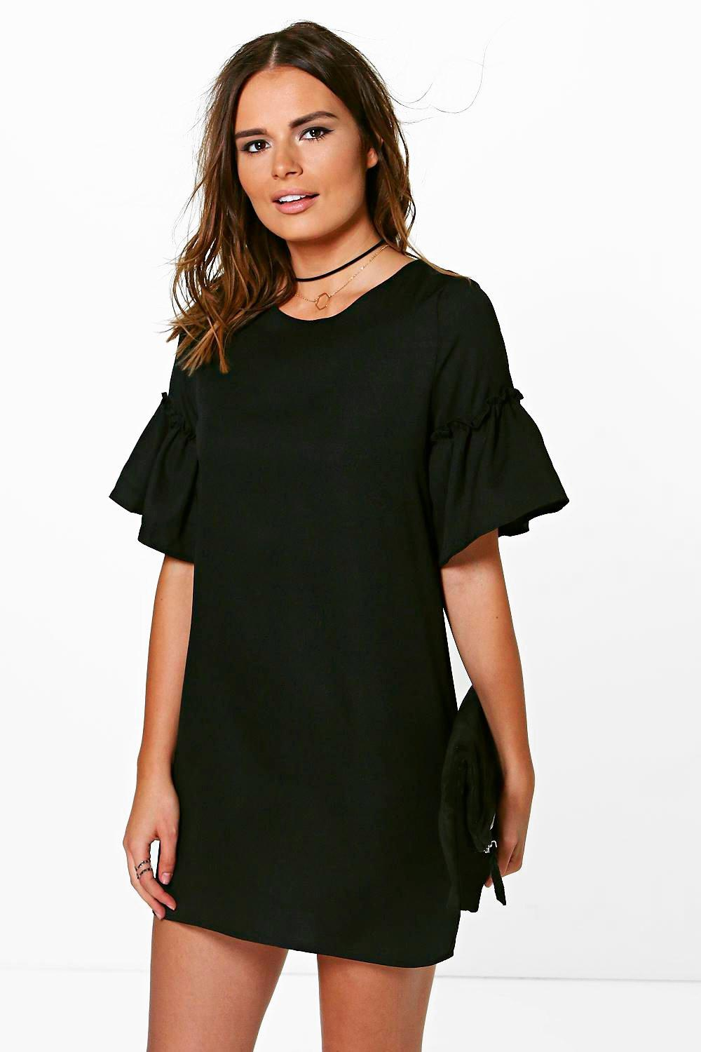 Gillian Ruffle Flute Sleeve Shift Dress