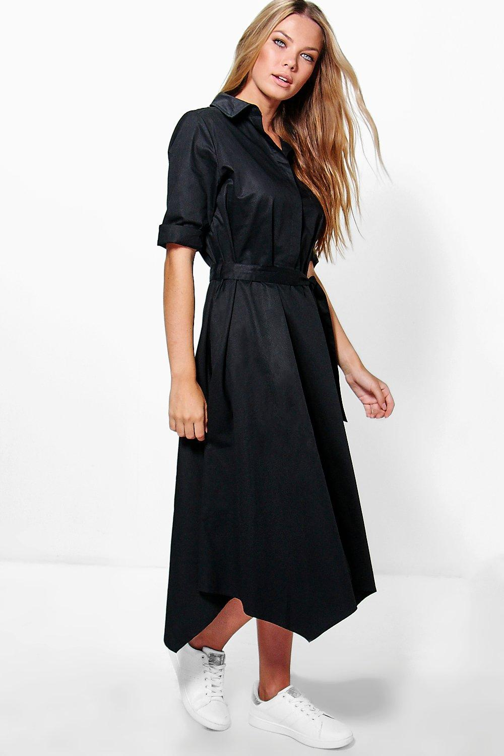 Asymmetric Hem Belted Shirt Dress  black