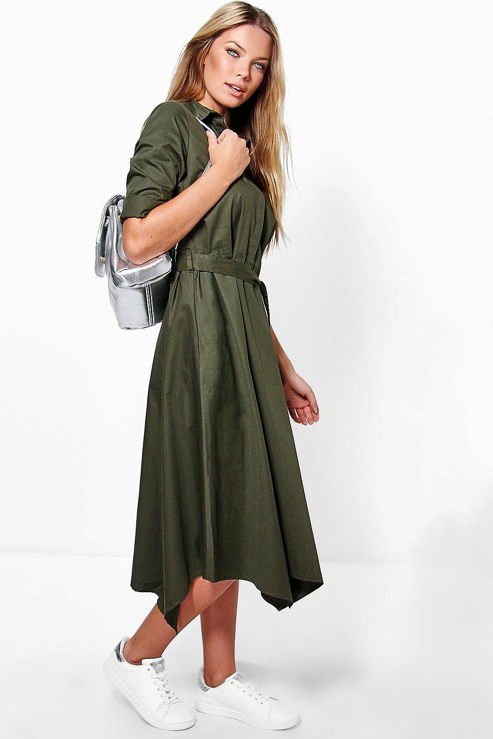 Asymmetric Hem Belted Shirt Dress  khaki