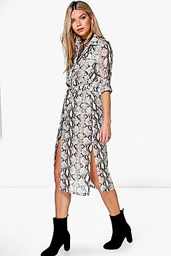 Lisanda Snake Print Shirt Dress