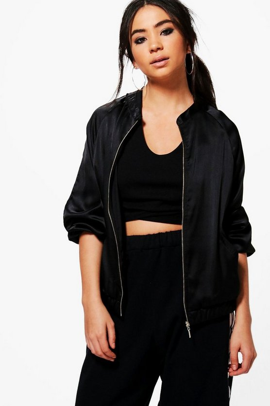 Maya Satin Bomber Jacket