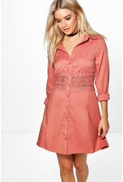 Savannah Lace Crochet Waist Shirt Dress