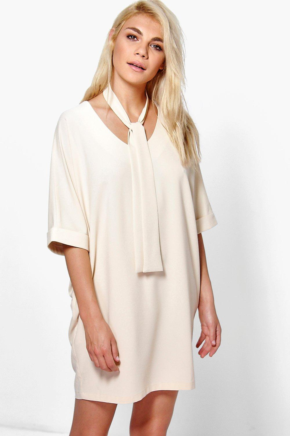 Talha Tie Neck Shift Dress