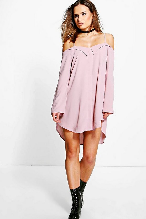 Darcie Off Shoulder Eyelet Shirt Dress