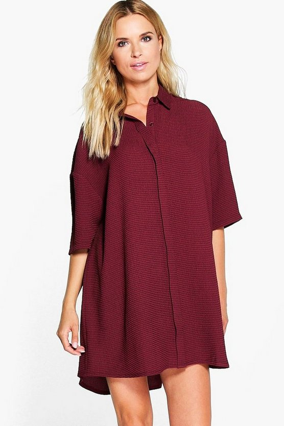 Michelle Waffle Textured Shirt Dress