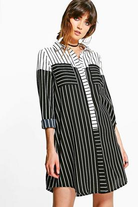 Natalia Colour Block Stripe Shirt Dress