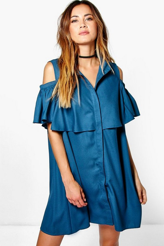 Victoria Cold Shoulder Ruffle Shirt Dress