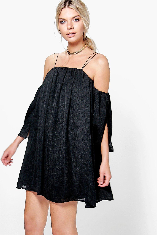 Angel Sleeved Pleated Crinkle Swing Dress  black