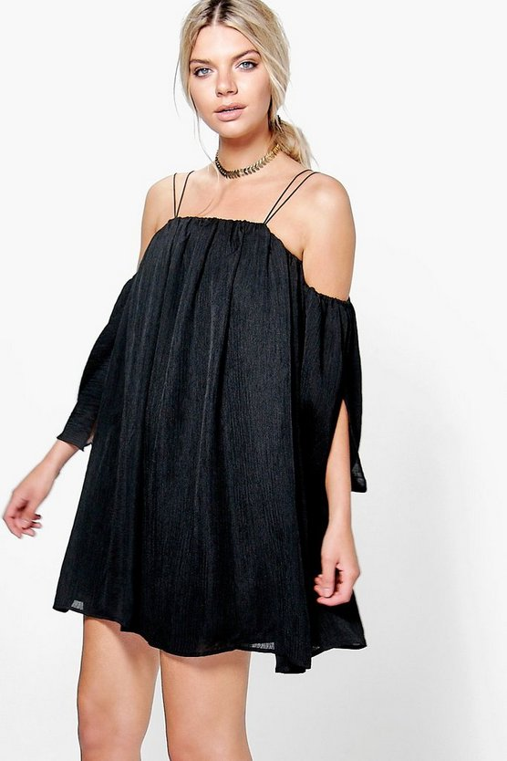 Angel Sleeved Pleated Crinkle Swing Dress