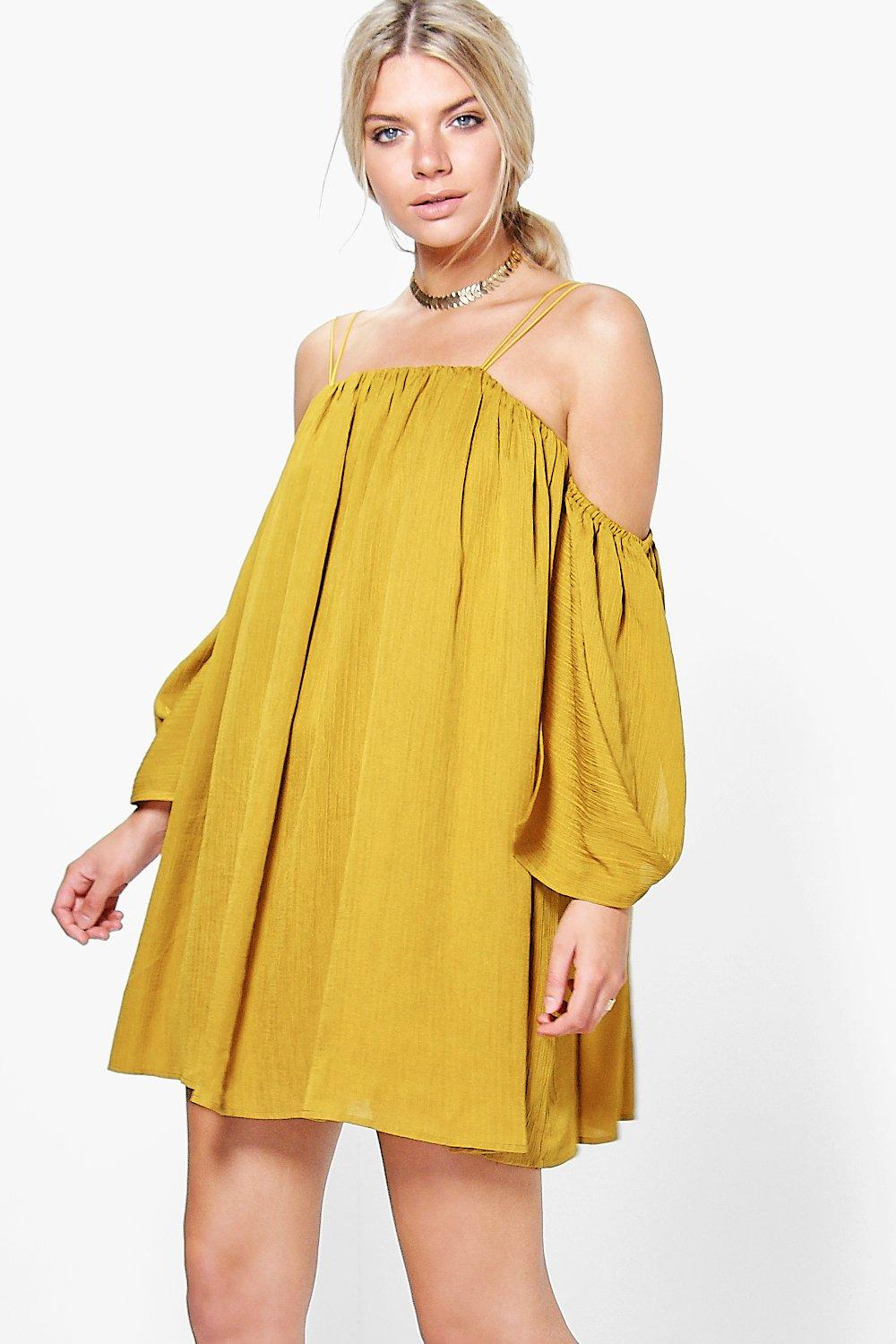 Angel Sleeved Pleated Crinkle Swing Dress  chartreuse