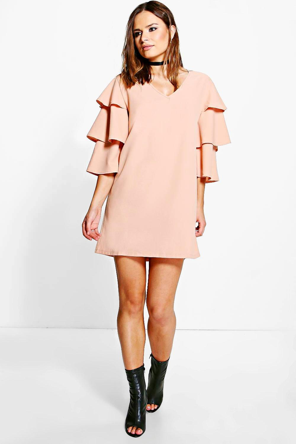 Anabelle Ruffle Tier Sleeved Shift Dress