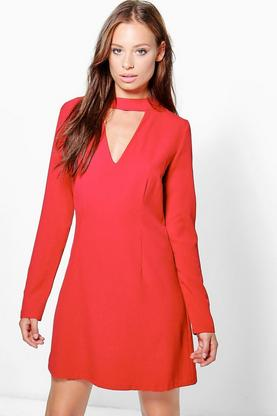 Ellie High Neck Choker Plunge Shift Dress
