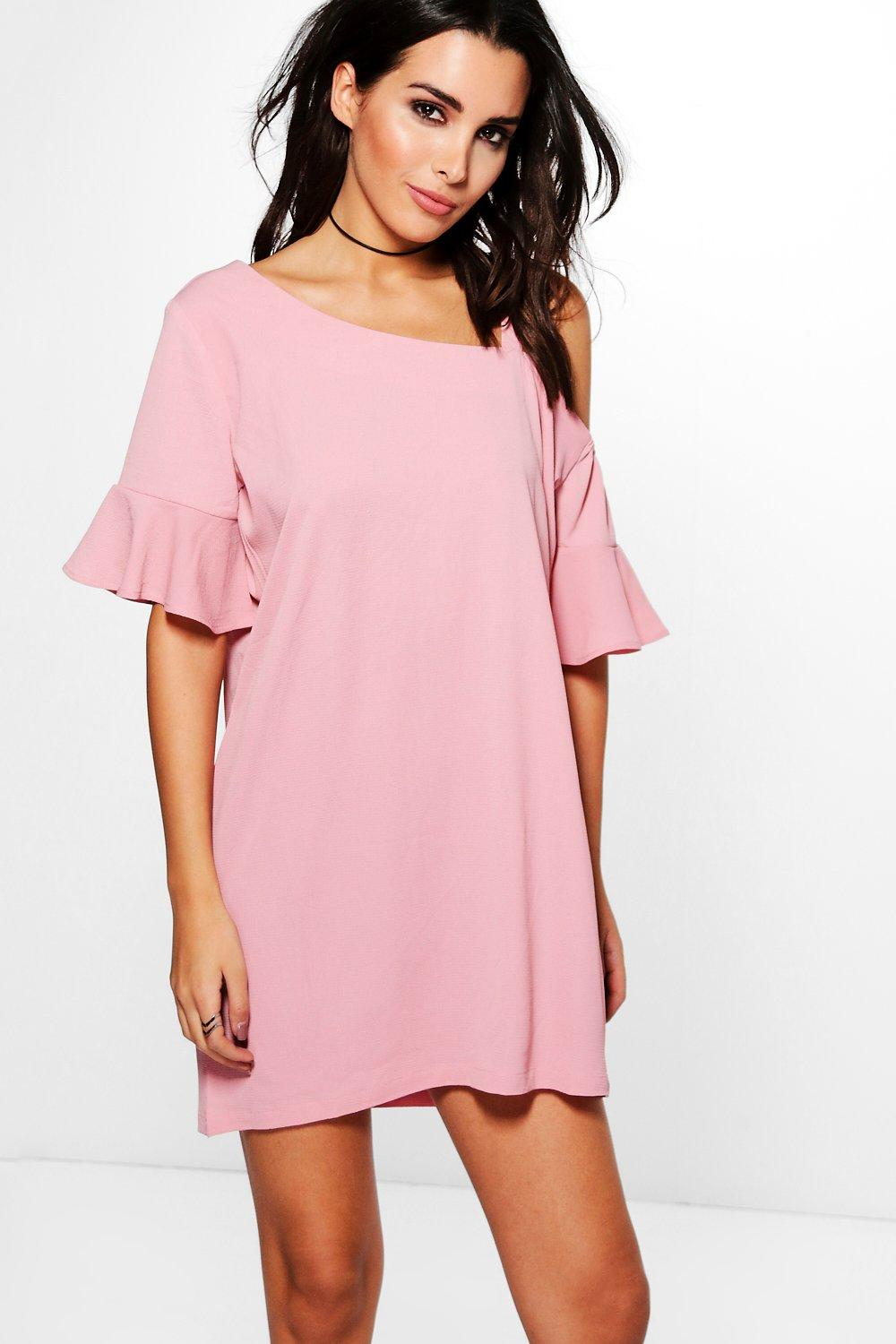 Cher Asymmetric Flute Sleeve Shift Dress