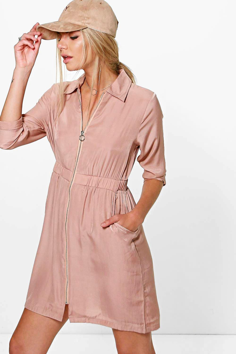 Kady Utility Zip Front Cupro Shirt Dress