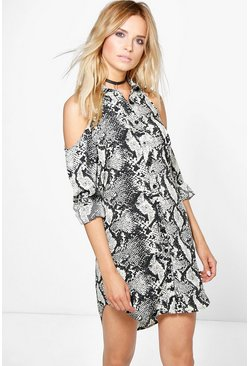 Lucia Cold Shoulder Snake Shirt Dress