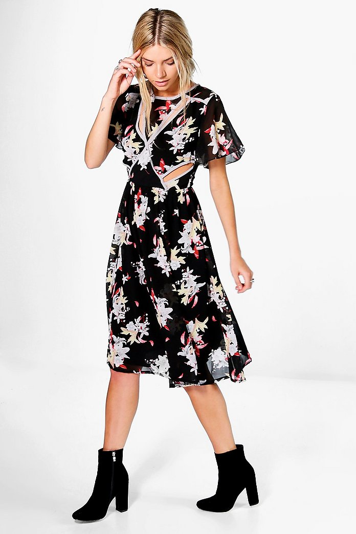 Roksanda Floral Cut Out Midi Dress