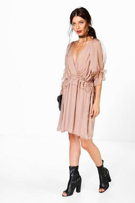 Boutique Soph Ruffle Detail Wrap Front Dress