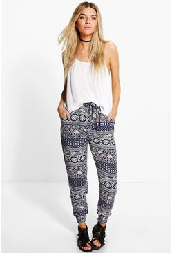 Aria Printed Woven Casual Joggers