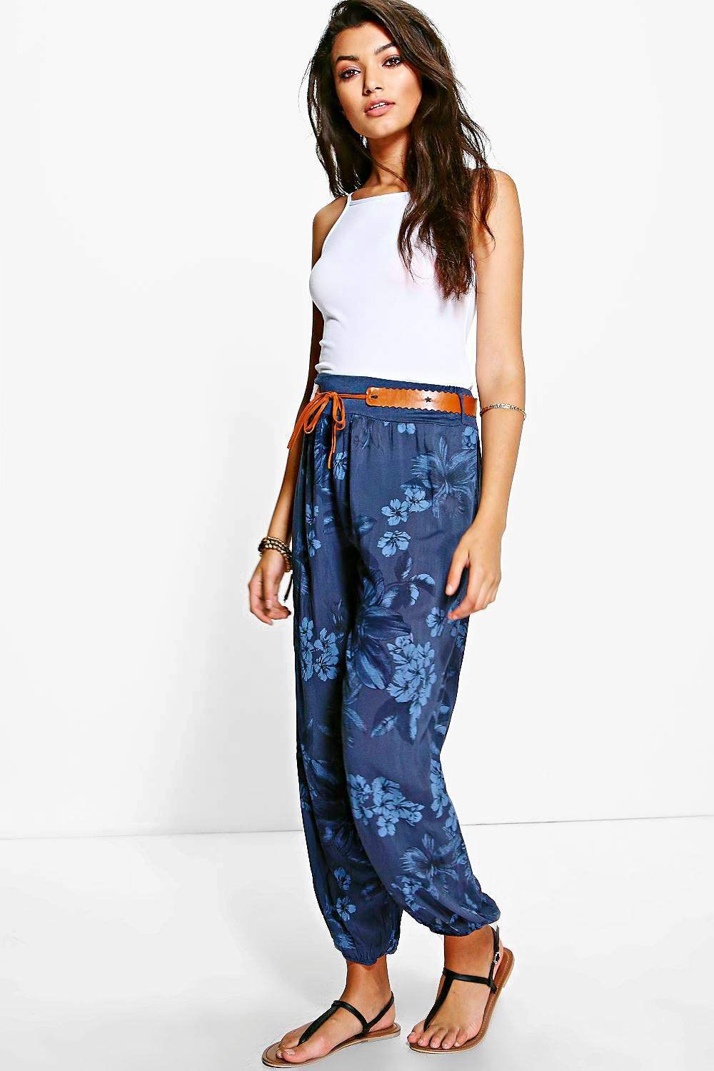 Belted Floral Woven Casual Joggers navy
