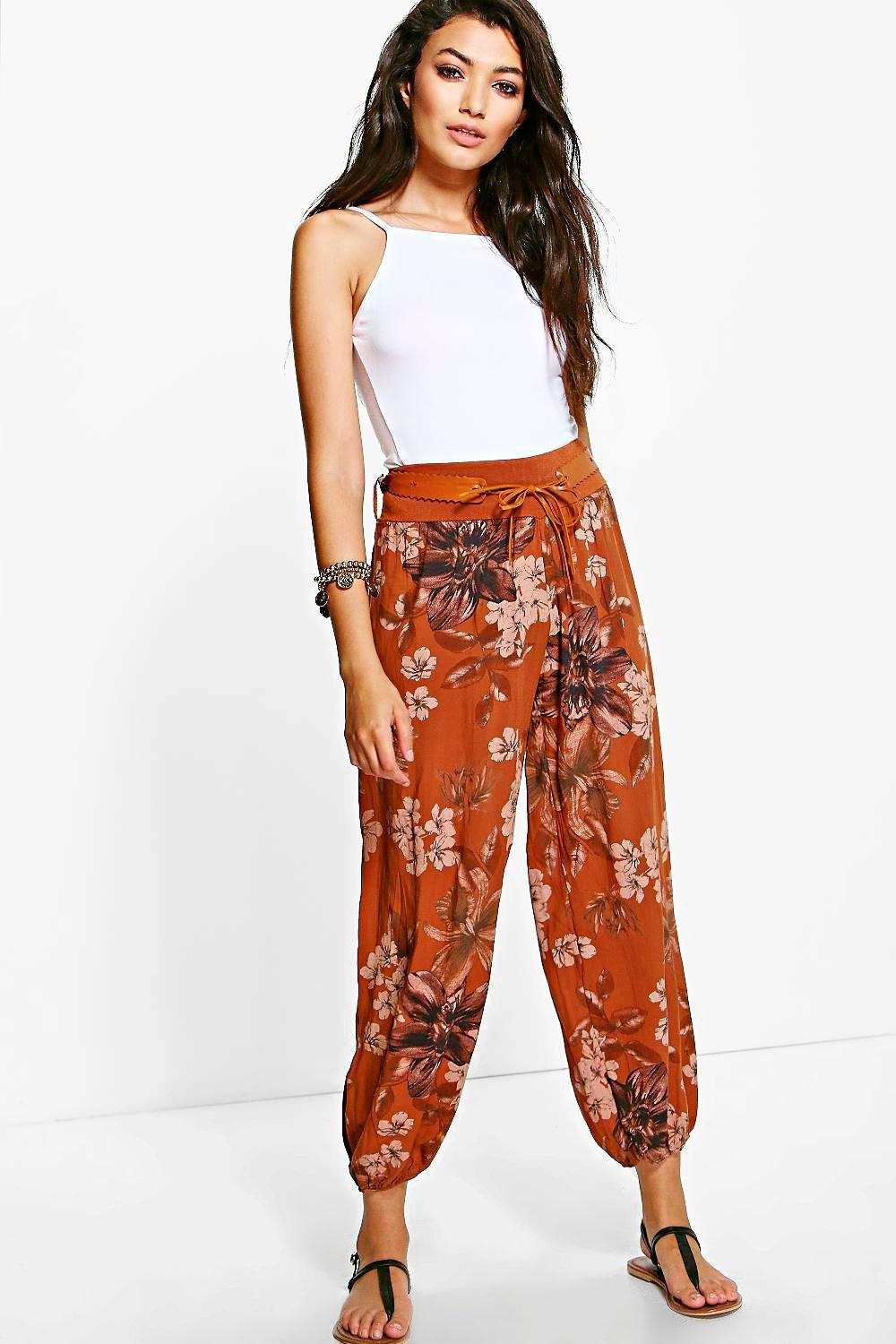 Belted Floral Woven Casual Joggers rust