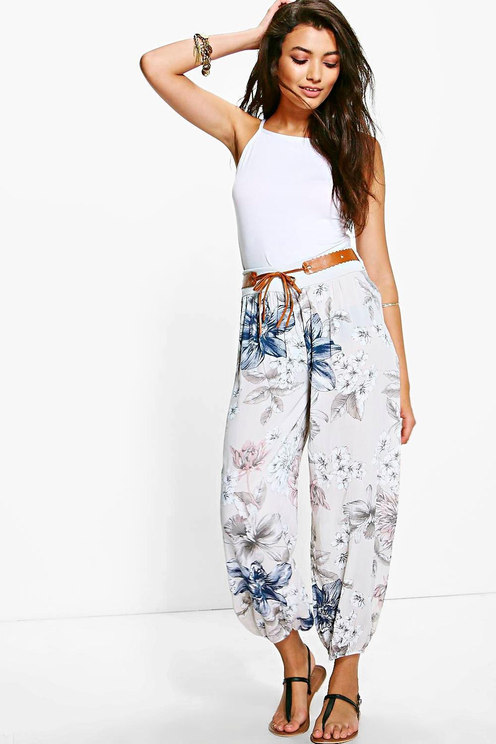 Ava Belted Floral Woven Casual Joggers