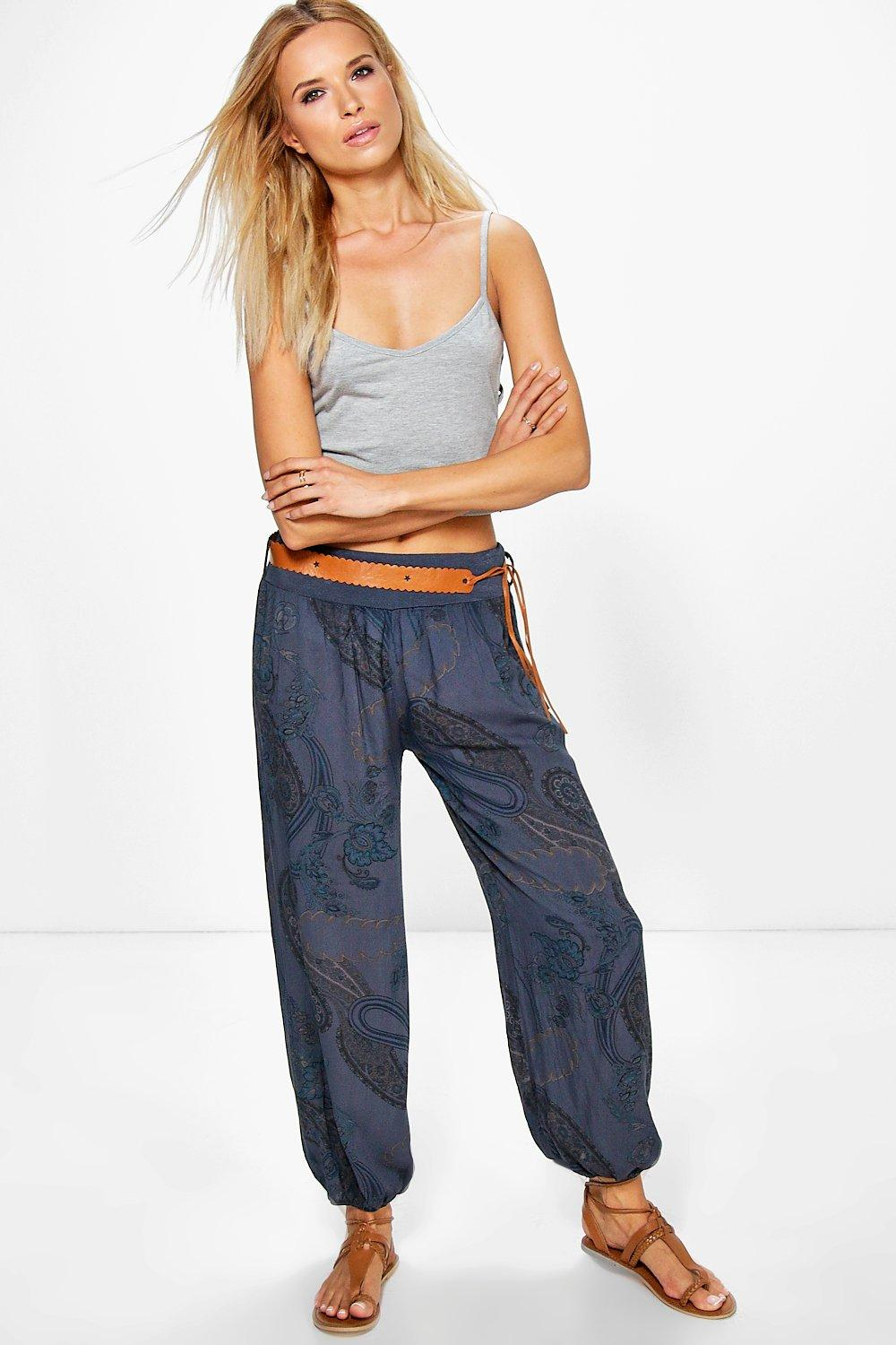 Belted Paisley Woven Casual Jogger navy