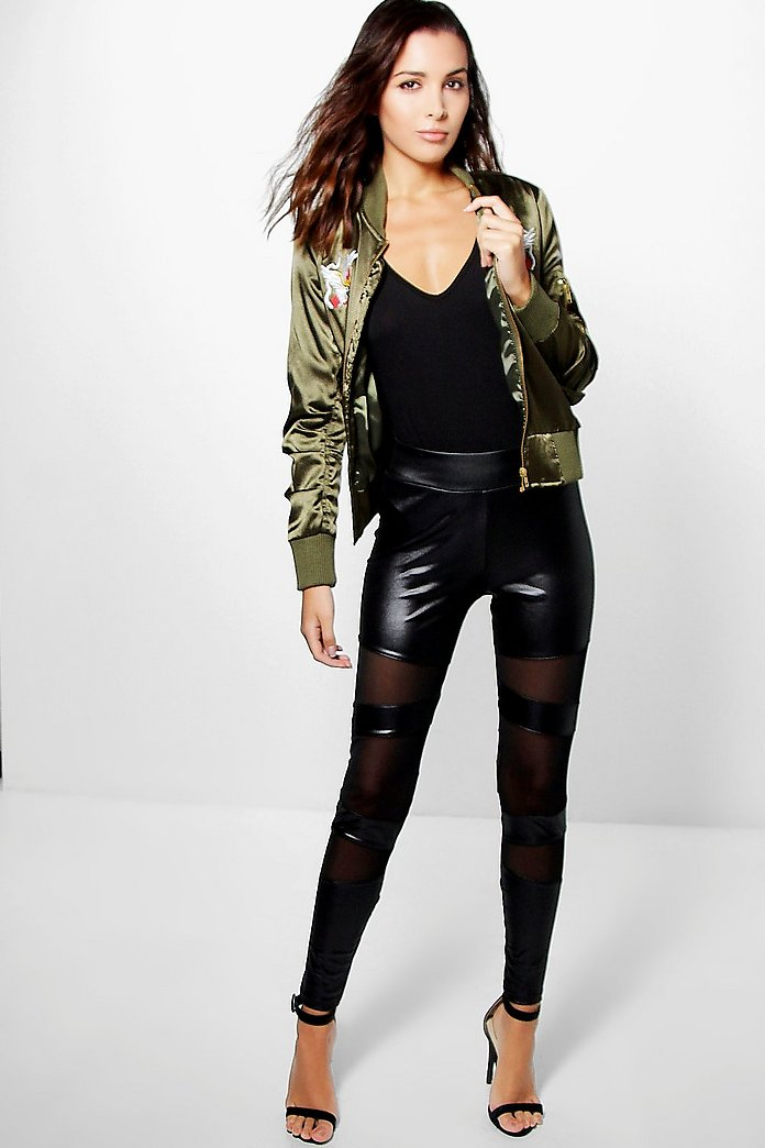 Scarlett Leather Look Mesh Insert Leggings