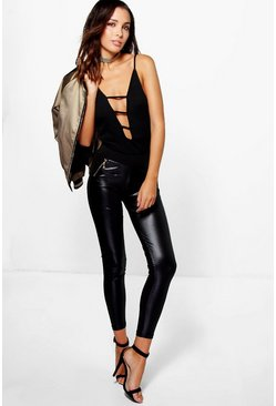 Nova Leather Look Front Zip Details Leggings