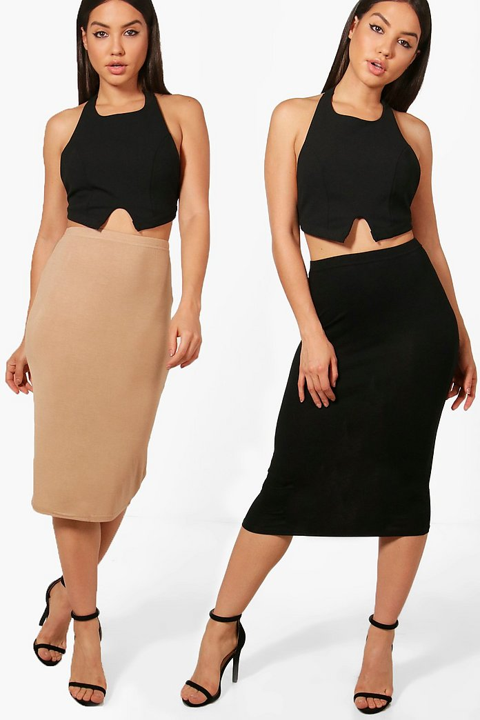 Brea 2 Pack Basic Jersey Midi Skirt