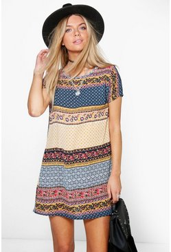 Kelsey Paisley Cap Sleeved Shift Dress