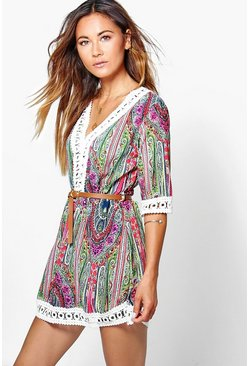 Hayley Fluro Print Lace Mini Dress