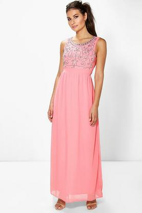 Boutique Uma Embellished Chiffon Maxi Dress