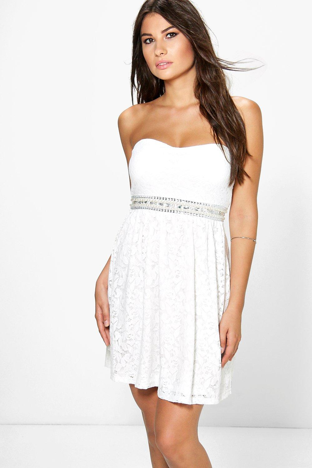 Boutique Fran Lace Embellished Waist Dress
