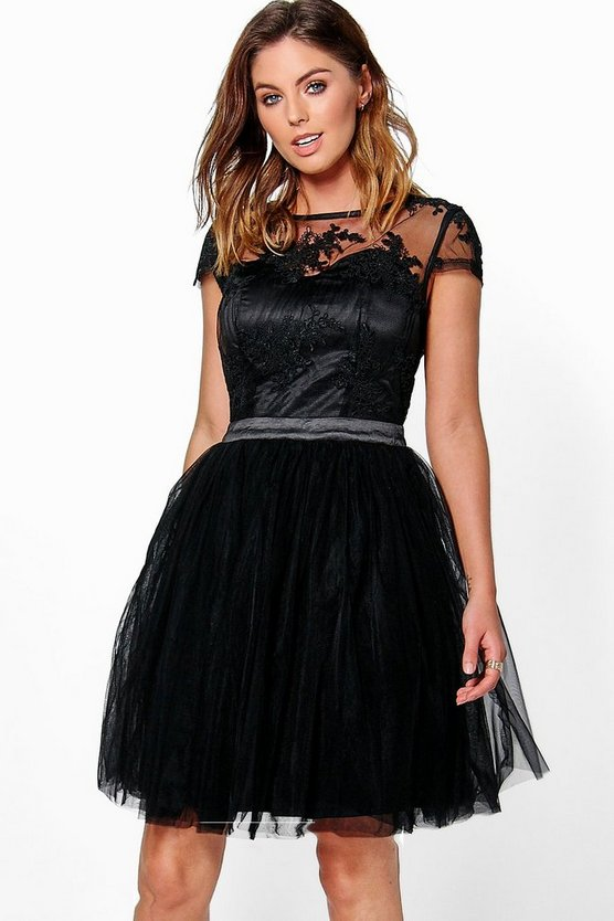Boutique Ayra Embroidered Mesh Skater Dress