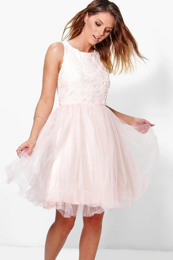 Boutique Ally Applique Top Mesh Skater Dress