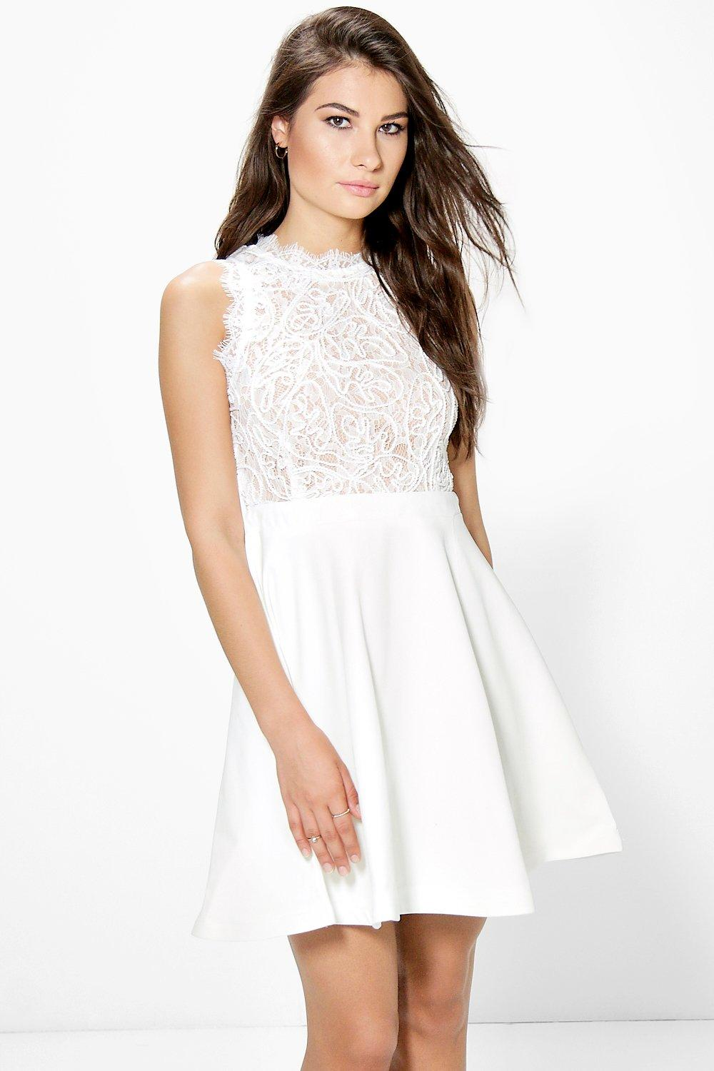 Boutique Ray Lace Detail Top Skater Dress