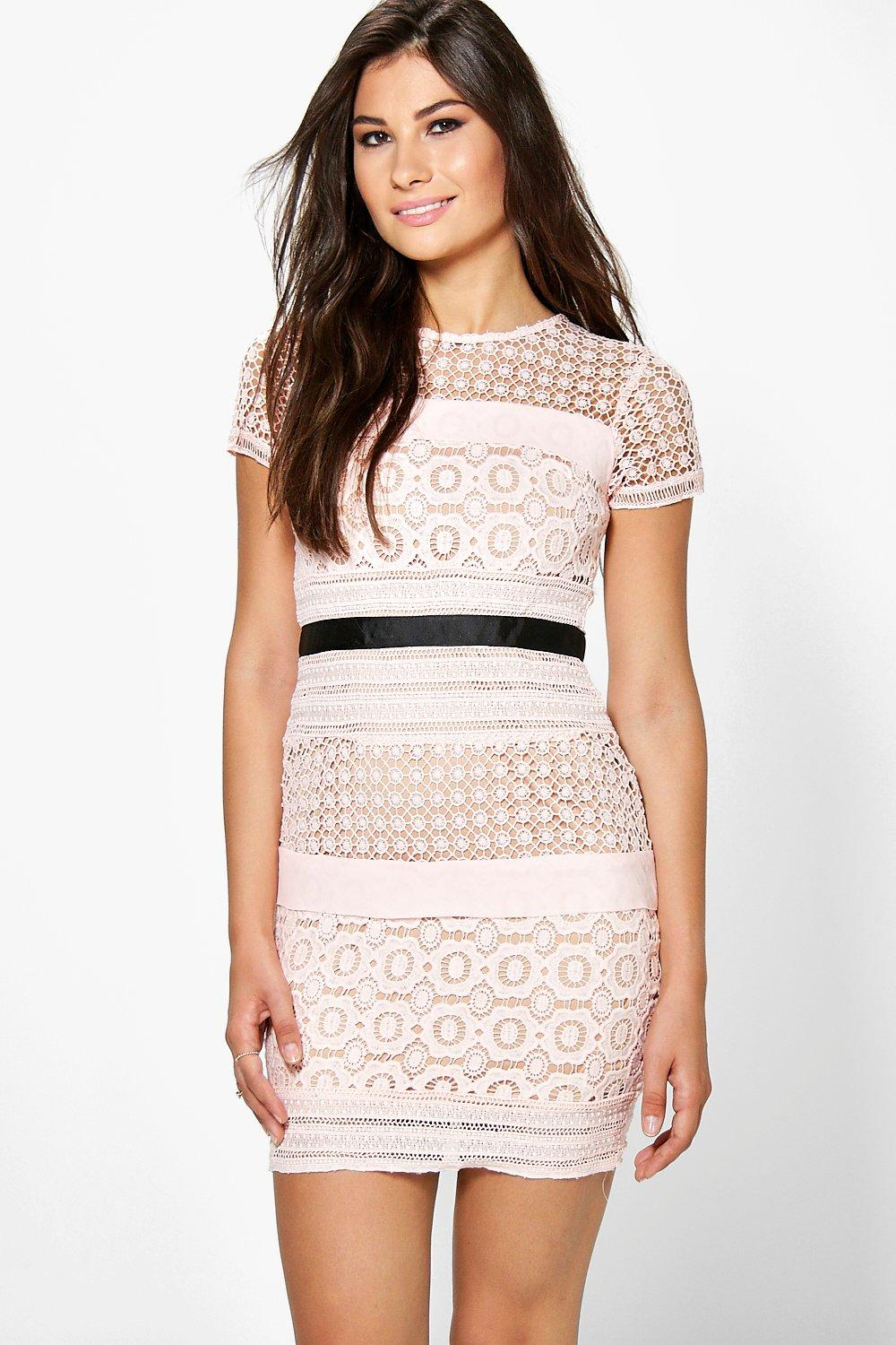 Boutique Ita Crochet Panelled Bodycon Dress