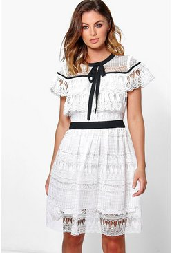 Boutique Elle All Over Lace Frill Detail Dress