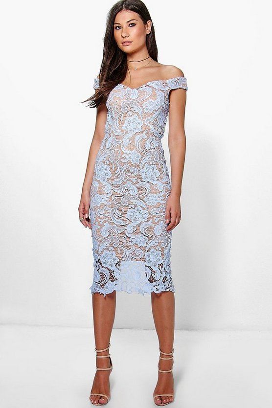 Boutique Marcie Lace Off Shoulder Midi Dress