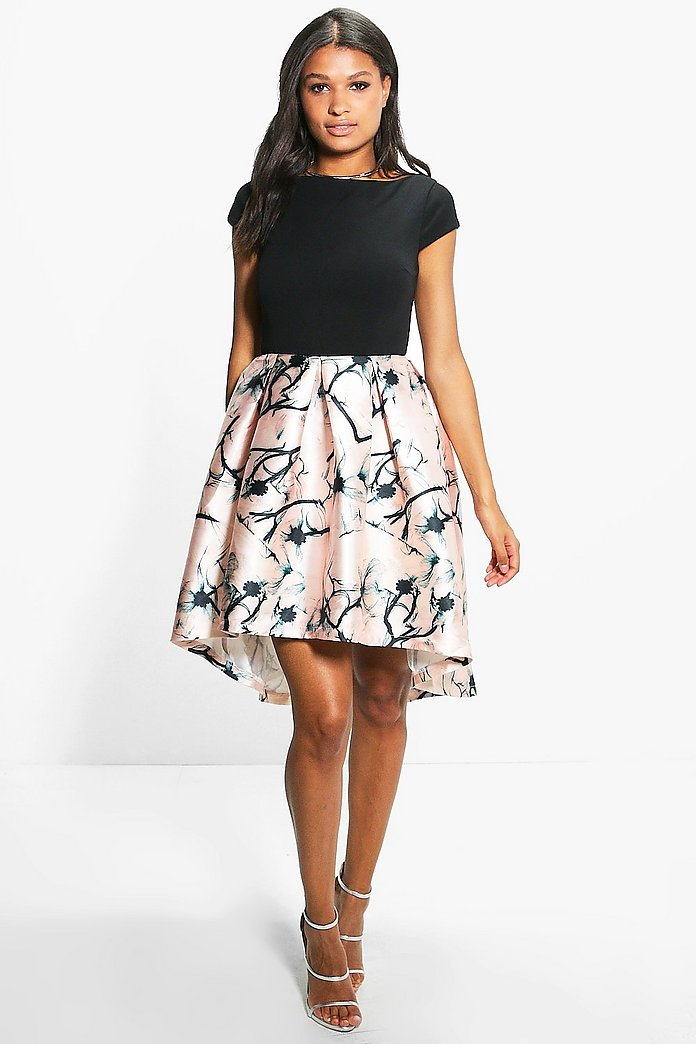 Boutique Jay Sateen Printed Skirt Skater Dress